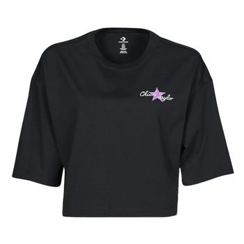 衣服 女士 短袖体恤 Converse 匡威 CHUCK INSPIRED HYBRID FLOWER OVERSIZED CROPPED TEE 黑色