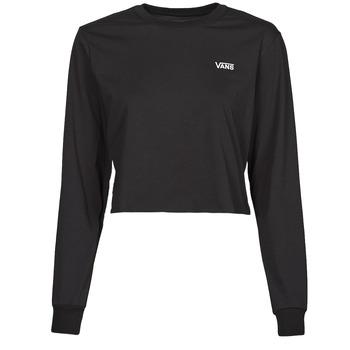 衣服 女士 长袖T恤 Vans 范斯 JUNIOR V LS CROP 黑色