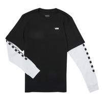 衣服 男孩 长袖T恤 Vans 范斯 LONG CHECK TWOFER 黑色