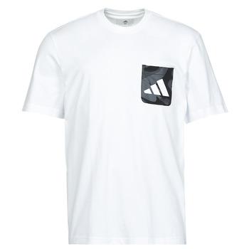 衣服 男士 短袖体恤 adidas Performance 阿迪达斯运动训练 CAMO PKT TEE 白色