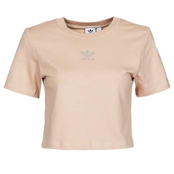 衣服 女士 短袖体恤 Adidas Originals 阿迪达斯三叶草 CROPPED  TEE 米色