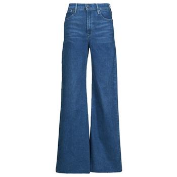 衣服 女士 喇叭牛仔裤 G-Star Raw DECK ULTRA HIGH WIDE LEG 蓝色