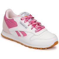 鞋子 儿童 球鞋基本款 Reebok Classic CL LTHR 白色 / 玫瑰色
