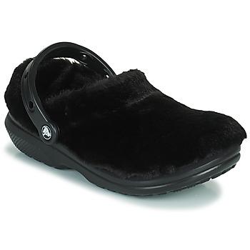 鞋子 女士 洞洞鞋/圆头拖鞋 crocs 卡骆驰 CLASSIC FUR SURE 黑色