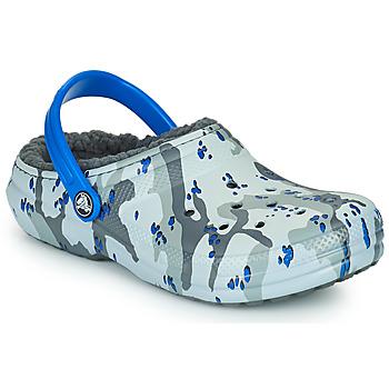 鞋子 男孩 洞洞鞋/圆头拖鞋 crocs 卡骆驰 CLASSIC LINED CAMO CG K 灰色 / 蓝色