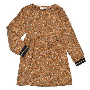 衣服 女孩 短裙 Name it NKFKRINFRA LS DRESS 橙色