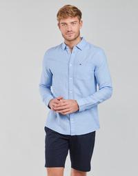 衣服 男士 长袖衬衫 Tommy Jeans TJM LINEN BLEND SHIRT 蓝色