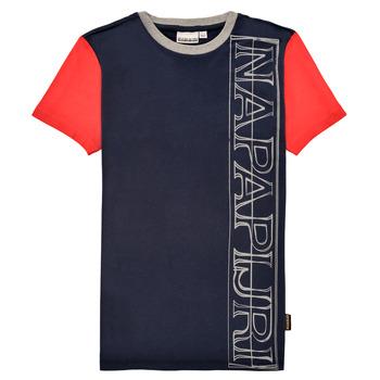 衣服 男孩 短袖体恤 Napapijri SAOBAB 海蓝色 / 红色