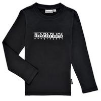衣服 男孩 长袖T恤 Napapijri S-BOX LS 黑色