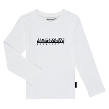 衣服 男孩 长袖T恤 Napapijri S-BOX LS 白色