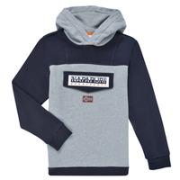 衣服 男孩 卫衣 Napapijri BURGEE 灰色 / 黑色