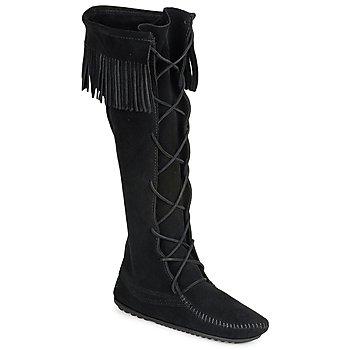 鞋子 女士 都市靴 Minnetonka FRONT LACE HARDSOLE KNEE HI BOOT 黑色