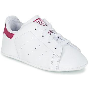 鞋子 女孩 球鞋基本款 Adidas Originals 阿迪达斯三叶草 STAN SMITH CRIB 白色 / 玫瑰色