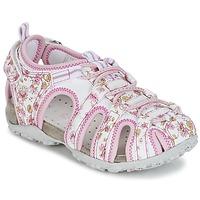 鞋子 女孩 运动凉鞋 Geox 健乐士 S.ROXANNE C 白色 / 玫瑰色