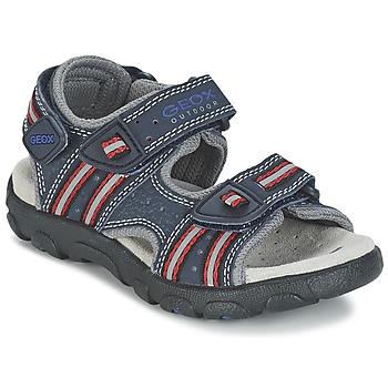 鞋子 女孩 运动凉鞋 Geox 健乐士 S.STRADA A 海蓝色 / 红色