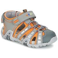 鞋子 男孩 运动凉鞋 Geox 健乐士 SANDAL KRAZE B 灰色 / 橙色