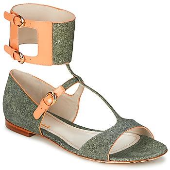 鞋子 女士 凉鞋 John Galliano A65970 绿色 / 米色