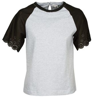 衣服 女士 短袖体恤 Manoush FANCY 灰色 / 黑色