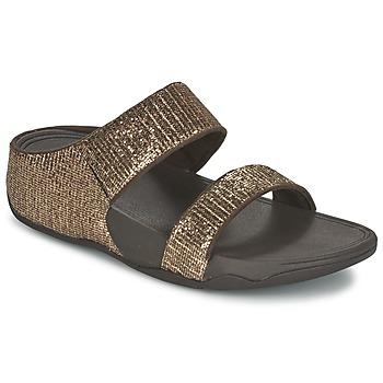 鞋子 女士 休闲凉拖/沙滩鞋 FitFlop LULU SUPERGLITZ SLIDE 古銅色