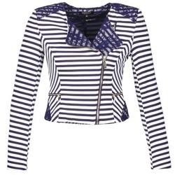 衣服 女士 外套/薄款西服 Morgan VMEL 海蓝色 / 白色