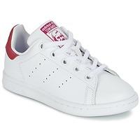 鞋子 女孩 球鞋基本款 阿迪达斯三叶草 STAN SMITH EL C 白色 / 玫瑰色