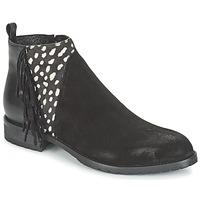 鞋子 女士 短筒靴 Meline VELOURS NERO PLUME NERO 黑色 / 白色