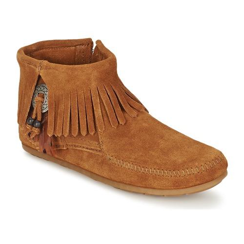 鞋子 女士 短筒靴 Minnetonka CONCHO FEATHER SIDE ZIP BOOT 棕色
