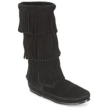 鞋子 女士 都市靴 Minnetonka CALF HI 3 LAYER FRINGE BOOT 黑色