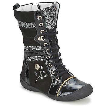 鞋子 女孩 短筒靴 Catimini CYLENE VNS NOIR-PAILLET DPF/2530