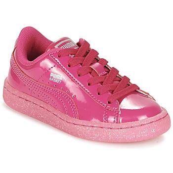 鞋子 女孩 球鞋基本款 Puma 彪马 BASKET PATENT ICED GLITTER PS 玫瑰色