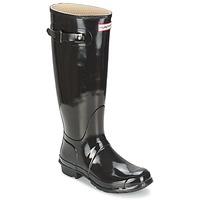 鞋子 女士 雨靴 Hunter 赫特威灵頓 WOMEN'S ORIGINAL TALL GLOSS 黑色