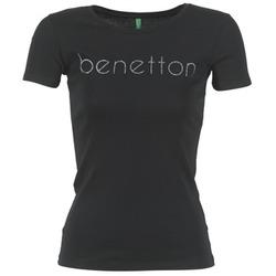 衣服 女士 短袖体恤 Benetton AJAVOL 黑色