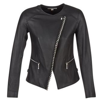 衣服 女士 皮夹克/ 人造皮革夹克 Michael by Michael Kors CHAIN FRONT BIKER 黑色