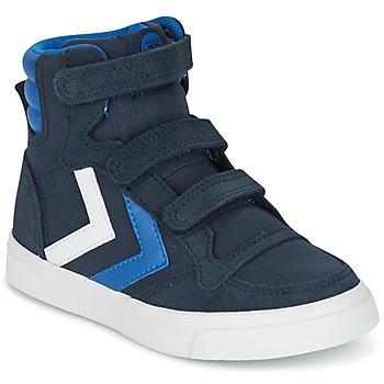 鞋子 儿童 高帮鞋 Hummel STADIL CANVAS HIGH JR 蓝色 / 白色