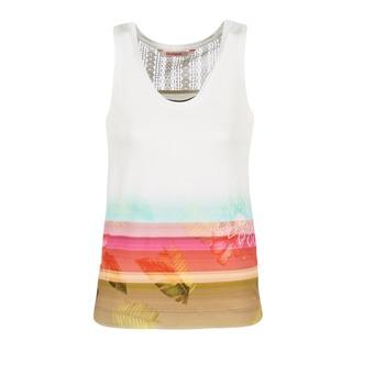 衣服 女士 无领短袖套衫/无袖T恤 Desigual TEDERI 白色 / 多彩