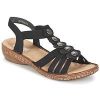 鞋子 女士 凉鞋 Rieker 瑞克尔 MECHAROLO 黑色