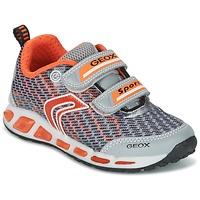鞋子 男孩 球鞋基本款 Geox 健乐士 J SHUTTLE B.A 灰色 / 橙色