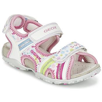 鞋子 女孩 运动凉鞋 Geox 健乐士 J S.ROXANNE A 白色 / 玫瑰色