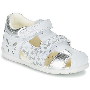 鞋子 女孩 凉鞋 Geox 健乐士 B KAYTAN G. C 白色 / 银灰色