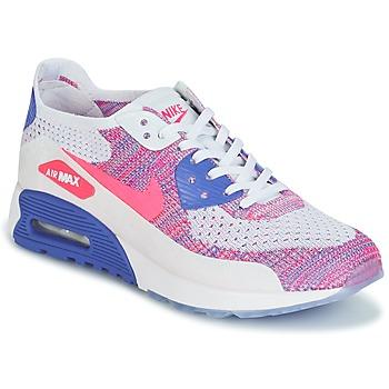 鞋子 女士 球鞋基本款 Nike 耐克 AIR MAX 90 FLYKNIT ULTRA 2.0 W 白色 / 蓝色 / 玫瑰色