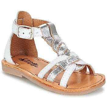 鞋子 女孩 凉鞋 Citrouille et Compagnie GITANOLO 白色 / 银灰色