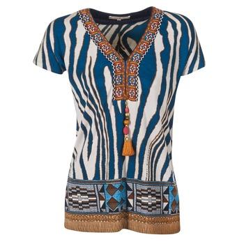 衣服 女士 短袖体恤 Derhy JAQUERIE 蓝色