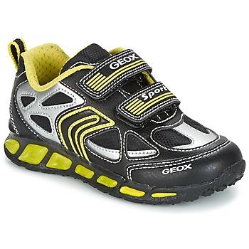 鞋子 男孩 球鞋基本款 Geox 健乐士 J SHUTTLE B. A 黑色 / 黄色