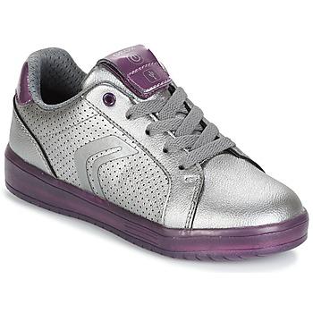 鞋子 女孩 球鞋基本款 Geox 健乐士 J KOMMODOR G.A 银灰色 / 李子色