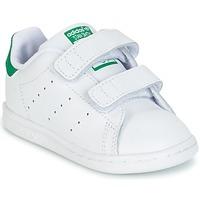 鞋子 男孩 球鞋基本款 Adidas Originals 阿迪達斯三葉草 STAN SMITH CF I 白色 / 綠色