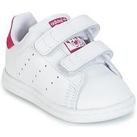 鞋子 女孩 球鞋基本款 Adidas Originals 阿迪达斯三叶草 STAN SMITH CF I 白色 / 玫瑰色