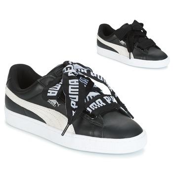 鞋子 女士 球鞋基本款 Puma 彪马 Basket Heart DE 黑色 / 白色