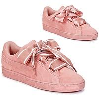 鞋子 女士 球鞋基本款 Puma 彪马 Basket Heart Satin 玫瑰色
