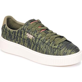 鞋子 女士 球鞋基本款 Puma 彪馬 Basket Platform Bi Color 卡其色