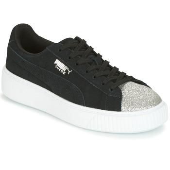 鞋子 女士 球鞋基本款 Puma 彪马 SUEDE PLATFORM GLAM JR 黑色 / 银色